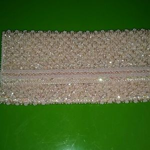 Handbags - Pink clutch, with hand-stitched Crystal beading
